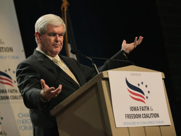 <p>Former House Speaker Newt Gingrich speaks at the Iowa Faith and Freedom Coalition forum on Saturday in Des Moines, Iowa. Six GOP presidential candidates attended the banquet, seeking an edge in the Jan. 3 Iowa caucus.</p>