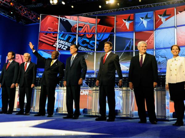 <p>Former U.S. Sen. Rick Santorum, U.S. Rep. Ron Paul, businessman Herman Cain, former Massachusetts Gov. Mitt Romney, Texas Gov. Rick Perry, Former House Speaker Newt Gingrich and U.S. Rep. Michele Bachmann participate in a Republican presidential debate last week in Las Vegas.</p>