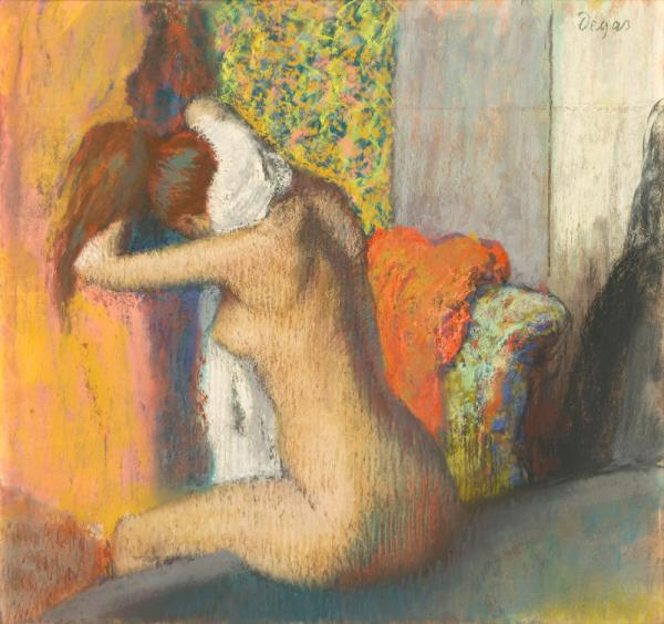 Many of Degas' nudes have their backs turned to the viewer. Above, Degas' pastel work, <em>After the Bath, Woman Drying Her Neck</em>, 1886-95.