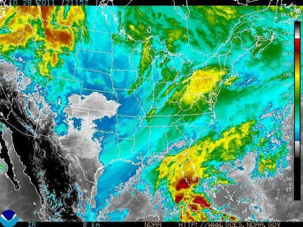 <p>Satellite shows precipitation headed toward the Northeast.</p>