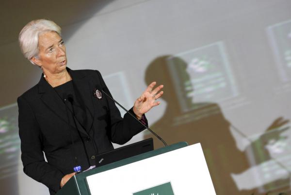International Monetary Fund chief Christine Lagarde delivers her speech at the International Finance Forum in Beijing.
