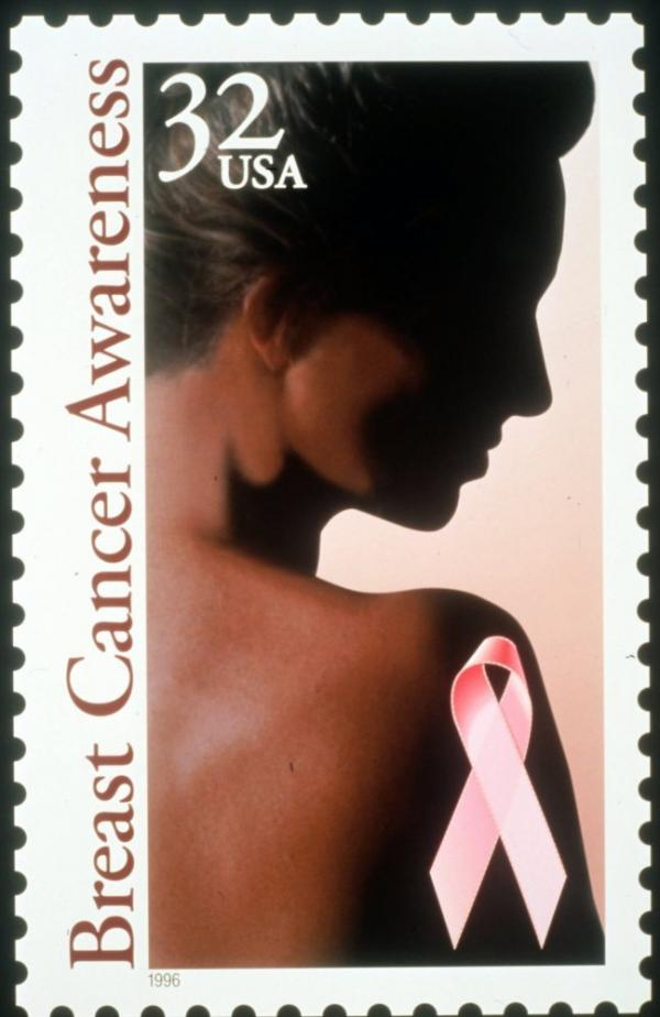 The U.S. Postal stamp for breast cancer awareness was released in Dec. 1995.