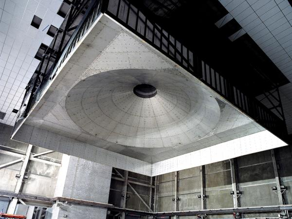 The large exhaust hood in the ceiling of the ATF's Fire Research Lab in Beltsville, Maryland is used to suck up smoke and heat from the fires set in the lab to measure carbon dioxide and carbon monoxide, among other things.
