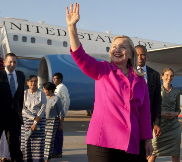 Secretary of State Hillary Rodham Clinton upon her arrival in Naypyidaw, Myanmar, earlier today (Nov. 30, 2011).