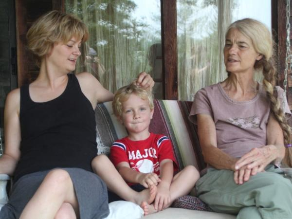 Left to right: Melanie Rice, her son Ezra Penland and grandmother Sheila Kay Adams.