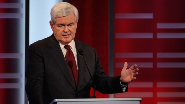 "Republican presidential candidate  Newt Gingrich, speaking here in a Republican debate on Saturday, has angered Palestinians by calling them ""an invented people"" and ""terrorists."""