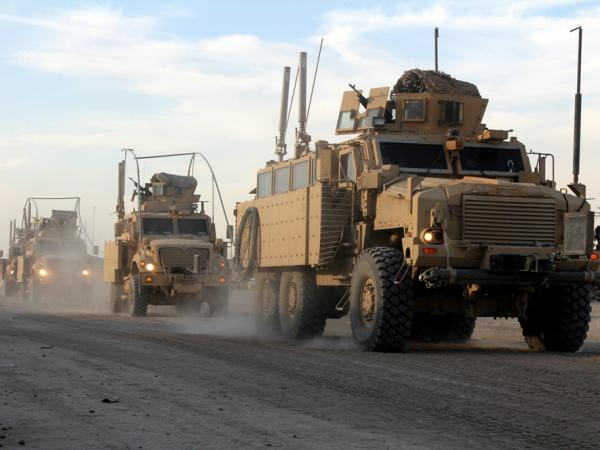 A U.S. convoy departs from Contingency Operating Station Kalsu, a U.S. base about 60 miles south of Baghdad. For many U.S. troops, it is the last stop in Iraq on the way out of the country.