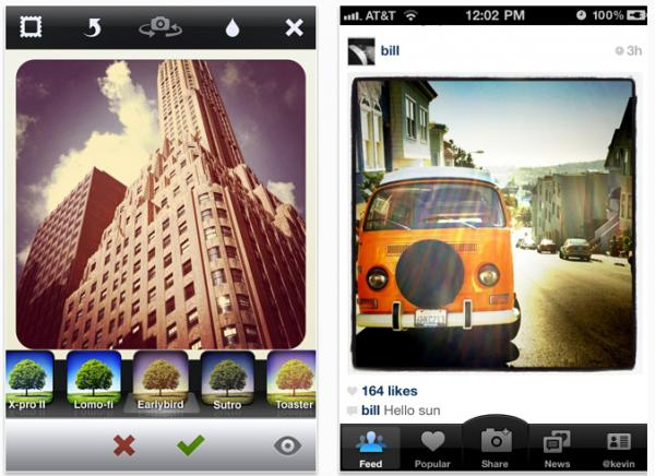 Two iPhone screengrabs shows Instagram's filter mode, left, and a shared photo on the app, right.