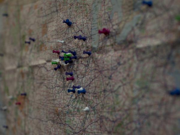 "Pushpins placed on a map below a note — ""Occupy the map! Where are you from?"" — at an Occupy movement event Thursday in Des Moines, Iowa."