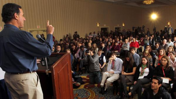 Former Pennsylvania Sen. Rick Santorum speaks during a campaign stop with college students Thursday in Concord, N.H.