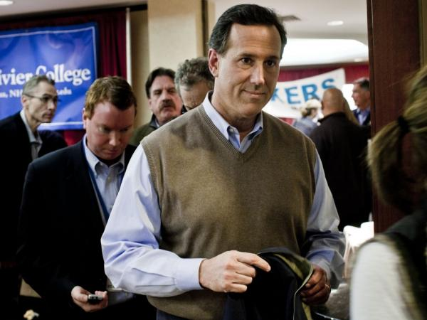 Republican presidential candidate Rick Santorum during the nation's first primary on Jan. 10, 2012 in Manchester, N.H.