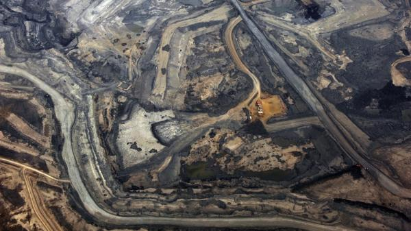 The Syncrude tar sands mine in Alberta, Canada. Alberta's tar sands would supply the oil for the prospective Keystone XL pipeline.