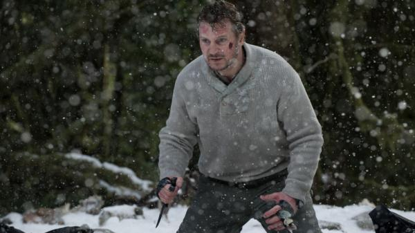 <strong>Cold Blood:</strong> John Ottoway (Liam Neeson) and his fellow air-crash survivors take on the arctic elements — and a hungry wolf pack — in <em>The Grey</em>.