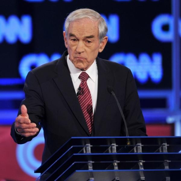 Rep. Ron Paul, R-Texas, during Thursday night's Republican presidential debate in Jacksonville, Fla.