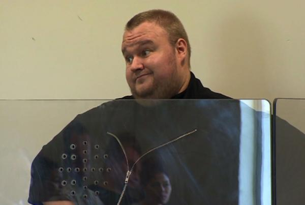 Megaupload founder Kim Dotcom at a North Shore court in Auckland. Dotcom was denied bail in New Zealand with a judge saying he was concerned the Internet tycoon's vast wealth meant he could flee the country if released from custody.