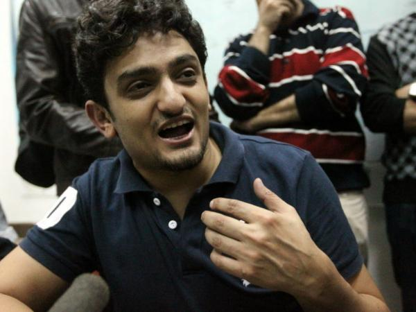 One year ago, Wael Ghonim spoke with reporters in Cairo's Tahrir Square, as protests there continued.