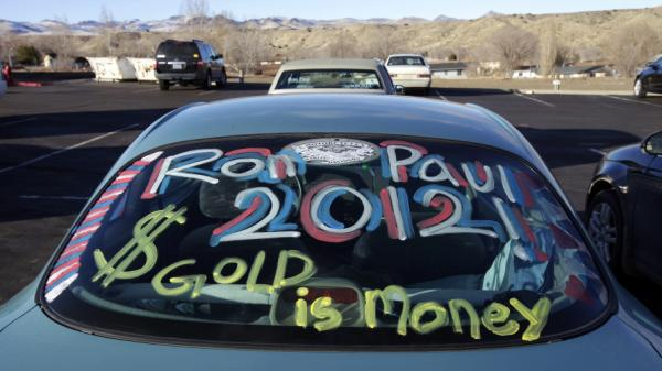 A sign on a car window at a Feb. 2 rally for Ron Paul in Elko, Nev.