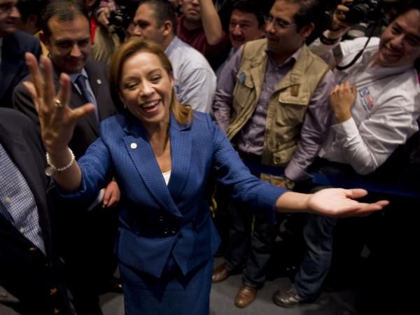 Josefina Vazquez Mota celebrates her selection as the presidential candidate of the National Action Party in Mexico City on Feb. 5.  She's the first woman to run for president in Mexico on a major party ticket.