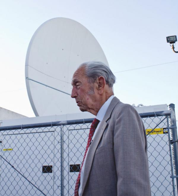 Harold Camping inside the <em>Family Radio</em> compound in Oakland, Calif.