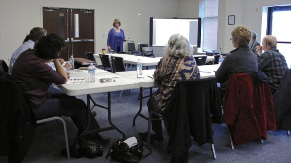 Citizen campaigns such as Election Integrity Maryland are training poll watchers for the upcoming elections. Cathy Kelleher leads a workshop for volunteers in Myersville, Md., on March 3.