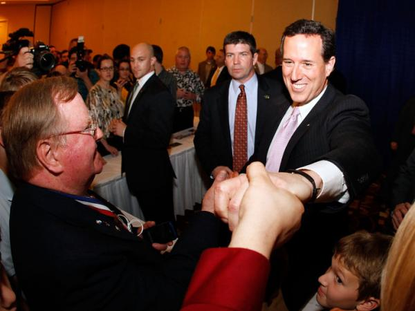 After Rick Santorum won primaries in Alabama and Mississippi on Tuesday, he addressed supporters in Louisiana, which holds its primary on March 24.