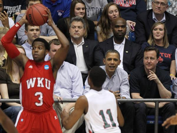 "President Obama and British Prime Minister David Cameron were courtside in Dayton, Ohio, Tuesday at the ""play in"" game between Western Kentucky and Mississippi Valley State. Western Kentucky won, 59-58."