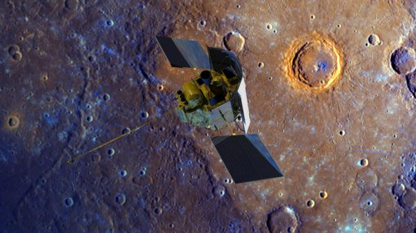 The Messenger spacecraft is depicted over the Calvino Crater on Mercury in this enhanced-color image of the planet's surface.