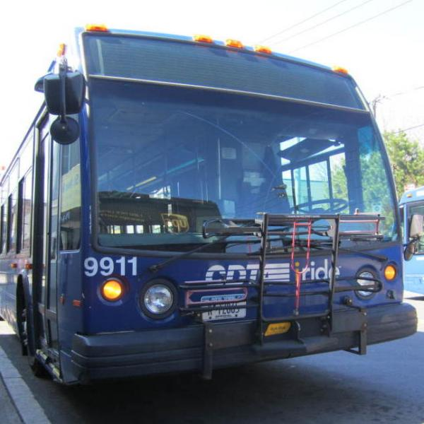 The Route 100 bus launched in late 2011. Local officials say ridership has been increasing steadily.