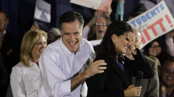 Mitt Romney laughs with South Carolina Gov. Nikki Haley (right) during a campaign event in Greenville, S.C., on Jan. 20. Haley says Ann Romney (left) will be important in helping the former Massachusetts governor appeal to female voters.