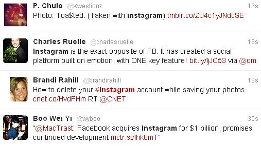 A sampling of Twitter users' response to the news that Facebook is purchasing Instagram for $1 billion.