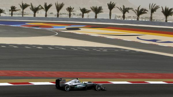The Formula One Grand Prix Race set for Sunday in Bahrain has drawn attention to the island nation that was rocked by protests last year. Demonstrators are being kept away from the racing circuit. Driver Nico Rosberg of the Mercedes team is shown here during a practice session Friday.
