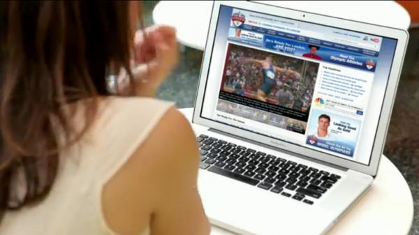 Live video of every event at this summer's Olympics will be streamed online — but NBC's free service will require a password from a cable or satellite provider. In this snapshot from an NBC video, a woman watches video on her laptop.
