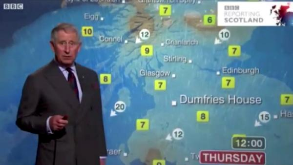 Prince Charles presented the weather report on a BBC Scotland newscast, surprising many viewers.