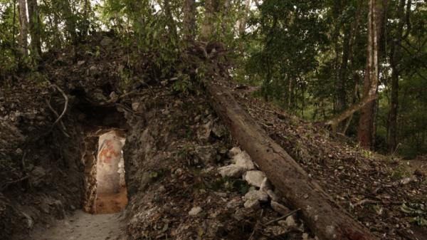 The painted figure of a man — possibly a scribe who once lived in the house built by the ancient Maya — is illuminated through a doorway to the dwelling, in northeastern Guatemala. The structure represents the first Mayan house found to contain artwork on its walls.