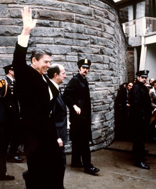 March 30, 1981: President Ronald Reagan, moments before he was shot.