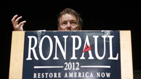 The younger Paul campaigns for his father in Windham, N.H., in January.