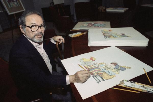 Sendak signs prints from <i>The Mother Goose Collection</i> in July 1990 — part of a benefit for homeless children in New York City.