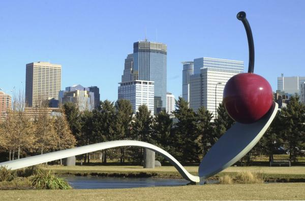 The cherry in Claes Oldenburg's <i>Spoonbridge and Cherry,</i> which sits in the sculpture garden near Minneapolis' Walker Art Center, weighs 1,200 pounds.