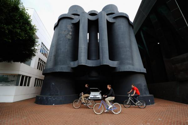 Los Angeles' Binoculars Building is named after the sculpture by Oldenburg and his wife, Coosje van Bruggen, that stands beside it.