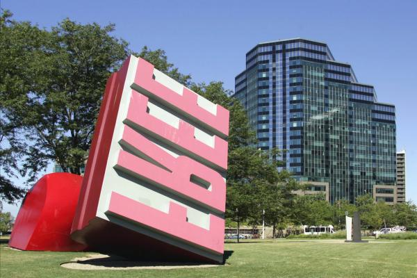 Oldenburg and van Bruggen's <i>Free Stamp</i> sits in Willard Park in Cleveland.
