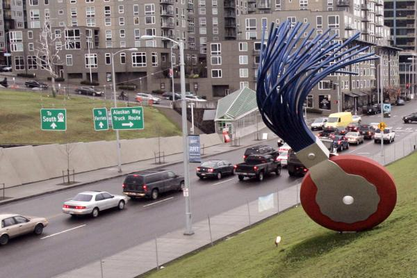 The 19-foot-tall <i>Typewriter Eraser, Scale X,</i> by Oldenburg and van Bruggen, stands in view of traffic passing Seattle's Olympic Sculpture Park.