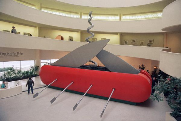 "Oldenburg's <i>Il Corso del Coltello,</i> or ""The Knife Ship,"" is an electric-powered Swiss Army knife that's about 40-feet long with blades and a corkscrew that are continuously in motion. It was shown at the Guggenheim Museum in New York in 1986."
