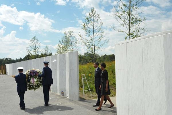 President Barack Obama and first lady Michelle Obama attend a commemoration ceremony at the Flight 93 National Memorial in Shanksville, Pa.