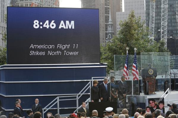 U.S. President Barack Obama and first lady Michelle Obama with former President George W. Bush and his wife, Laura Bush, at the 9/11 Memorial.
