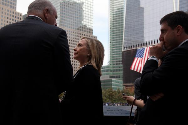 Secretary of State Hillary Rodham Clinton visits the 9/11 Memorial.