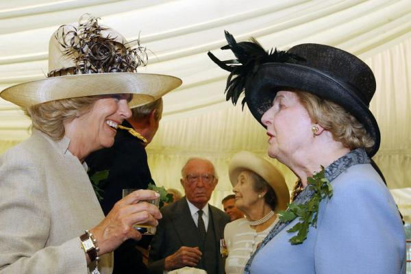The Duchess of Cornwall (left) talks with former Prime Minister Margaret Thatcher at the annual Founders Day Parade, on June 9, 2005.