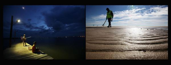 Left: Grand Isle residents returned to sport fishing in the months following the spill. Right: A worker cleans tarballs on Waveland beach in Waveland, Miss., Dec 6, 2010.