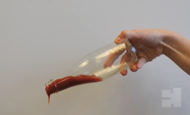 Pouring ketchup out of a bottle is easy.