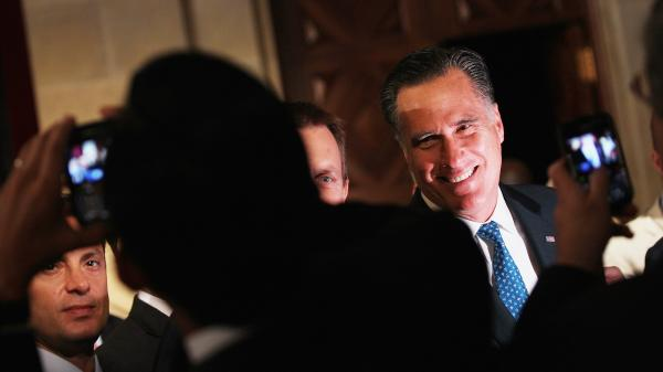 Mitt Romney greets guests after addressing the Latino Coalition's 2012 Small Business Summit at the U.S. Chamber of Commerce on Wednesday.