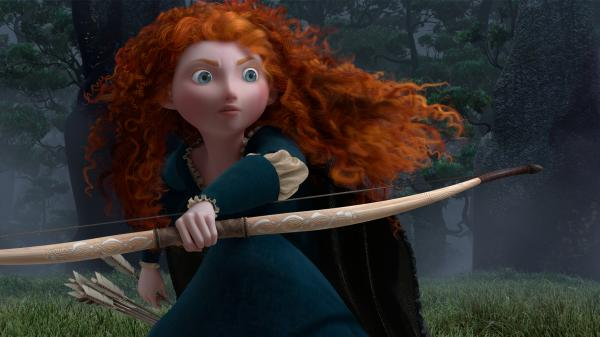 <em></em> <em></em>Pixar's <em>B</em><em>rave</em> follows the independent and courageous Merida (voice by Kelly Macdonald).